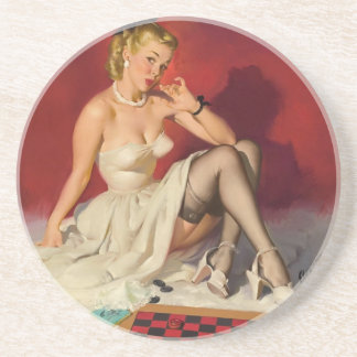 Lets Play a Game - Retro Pinup Girl Drink Coaster