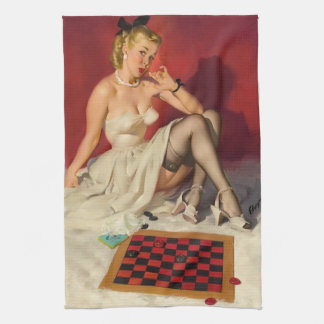 Lets Play a Game - Retro Pinup Girl Towels