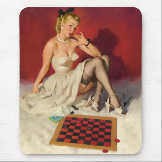 Lets Play a Game - Retro Pinup Girl Mouse Pad