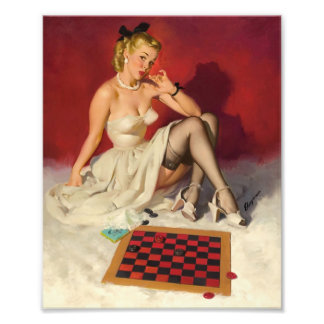 Lets Play a Game - Retro Pinup Girl Photo Print