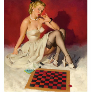 Lets Play a Game - Retro Pinup Girl Photo Cut Outs