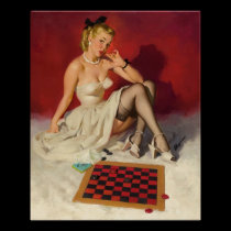 Lets Play a Game - Retro Pinup Girl Poster