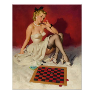 Lets Play A Game - Retro Pinup Girl Poster at Zazzle