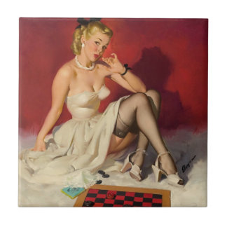 Lets Play a Game - Retro Pinup Girl Tile