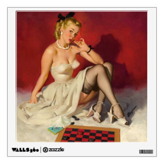 Lets Play a Game - Retro Pinup Girl Wall Decal