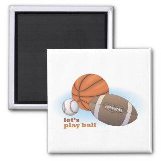 Let's play ball: baseball, basketball & football refrigerator magnet