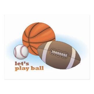 Let's play ball: baseball, basketball & football post card