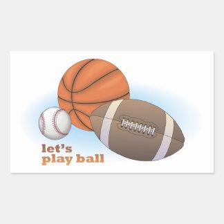 Let's play ball: baseball, basketball & football rectangular sticker
