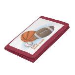 Let's play ball: baseball, basketball & football tri-fold wallet
