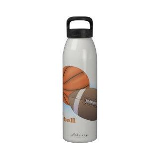 Let's play ball: baseball, basketball & football drinking bottle