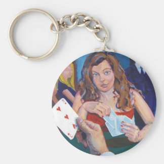 Let's play basic round button keychain