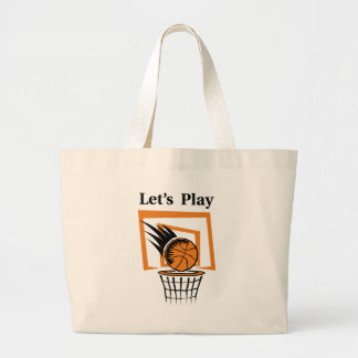 Let's Play Basketball Large Tote Bag