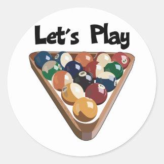 Let's Play Billiards Classic Round Sticker