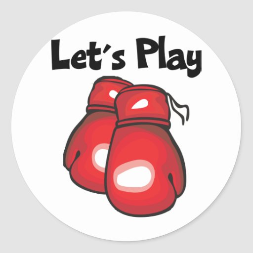 Let's Play Boxing Classic Round Sticker