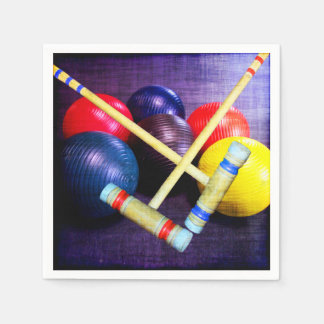 Let's Play Croquet Grunge Style Paper Napkin