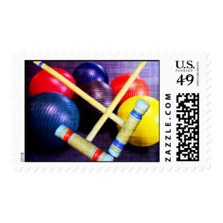 Let's Play Croquet Grunge Style Postage