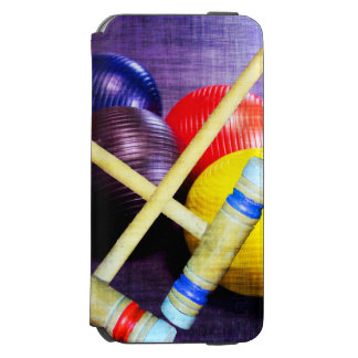 Let's Play Croquet Grunge Style Incipio Watson™ iPhone 6 Wallet Case