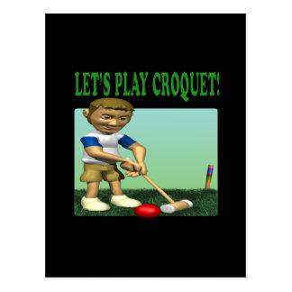 Lets Play Croquet Postcard