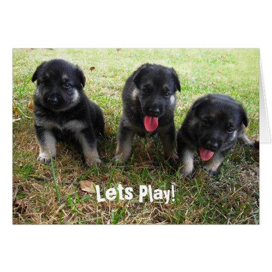 Lets Play!  German Shepherd Puppy Greeting Card
