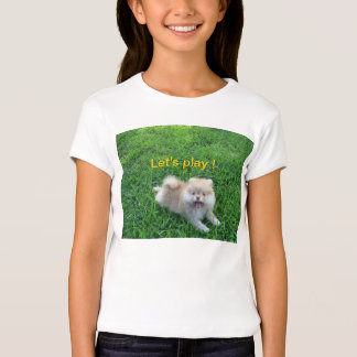 Let's play puppy in grass tshirt