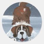 """Lets Play"" Saint Bernard dog Stickers"