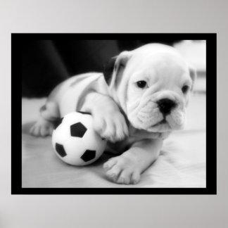 """""""Let's Play Soccer"""" English Bulldog Poster"""