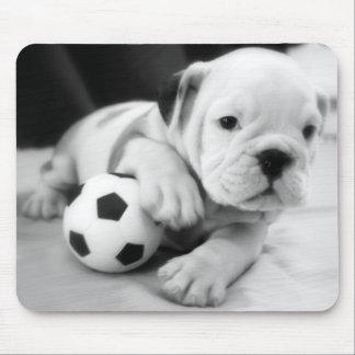 """Let's Play Soccer!"" English Bulldog Puppy Mouse Pad"