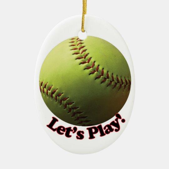 Let's Play! Softball Ceramic Ornament