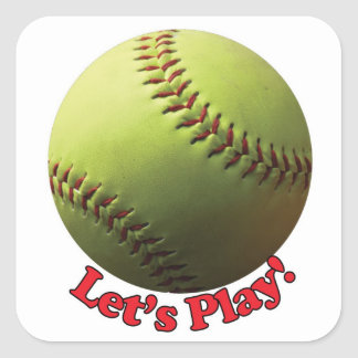 Lets Play Sports Ball Fastpitch Softball Square Sticker