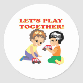 Lets Play Together 2 Classic Round Sticker