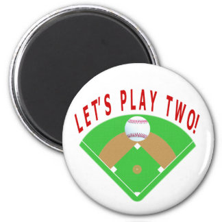 Let's Play Two Baseball T-Shirts & Gifts 2 Inch Round Magnet