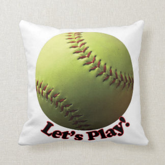 Let's Play! Yellow Softball Throw Pillow