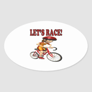 Lets Race 3 Oval Sticker