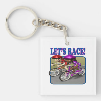 Lets Race 4 Square Acrylic Keychains