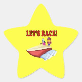 Lets Race Star Sticker