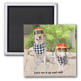 Let's rev it up and roll! 2 inch square magnet