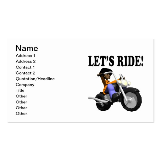 Lets Ride 3 Business Card