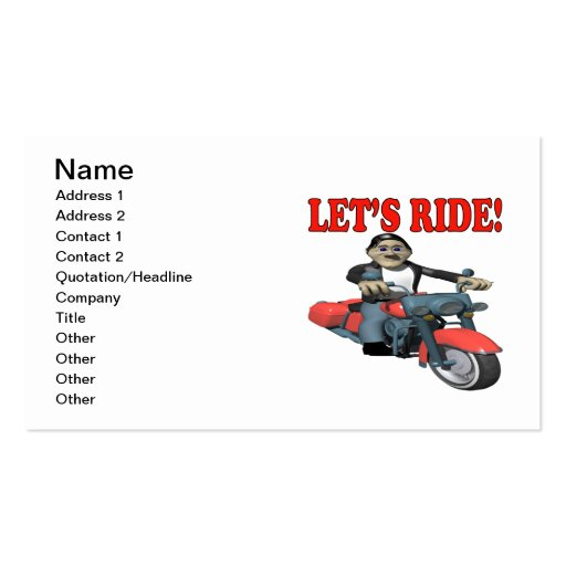 Lets Ride 4 Business Cards