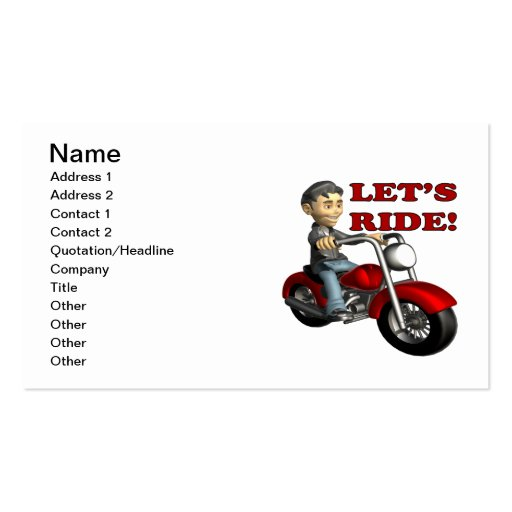 Lets Ride 5 Business Cards