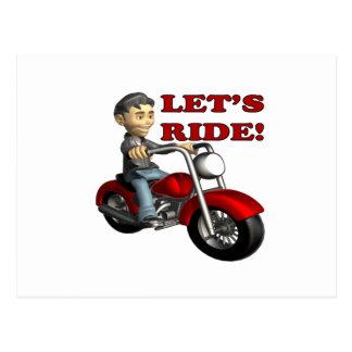 Lets Ride 5 Postcard