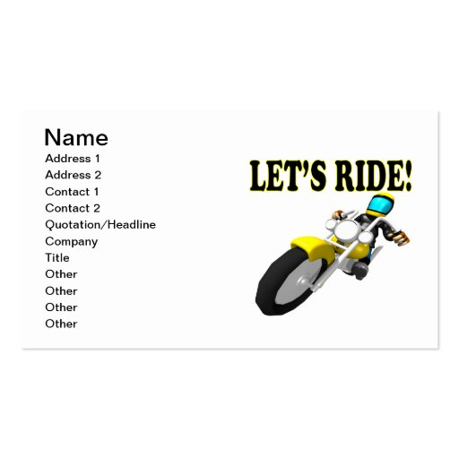 Lets Ride Business Card Template