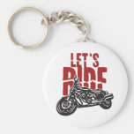 Lets Ride Motorcycle Design Basic Round Button Keychain