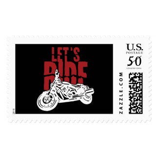 Lets Ride Motorcycle Design Postage