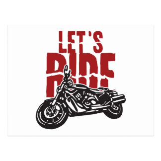 Lets Ride Motorcycle Design Postcard