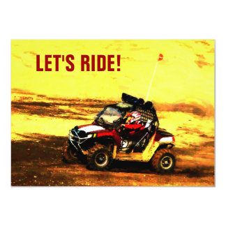 "Let's Ride! Mudding ATV Event 4.5"" X 6.25"" Invitation Card"