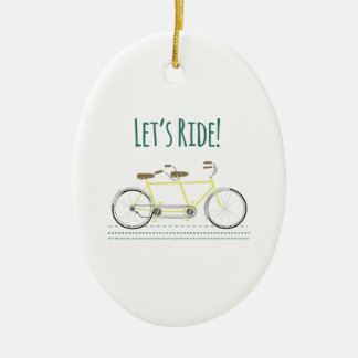 Lets Ride Double-Sided Oval Ceramic Christmas Ornament