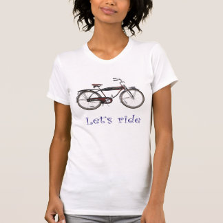 Let's ride this red black vintage bicycle so cool T-Shirt