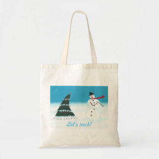 Let's rock, Christmas tree Snow man canvas bags