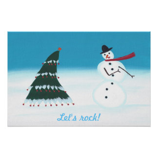 Let's rock, Christmas tree Snow man posters
