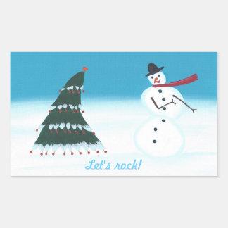 Let's rock, Christmas tree Snow man stickers